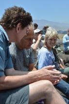 Dolph Schluter, Ole Seehausen, and Rosie Gillespie, pondering a spider